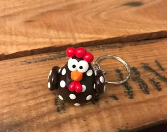 Chicken polymer clay keychain