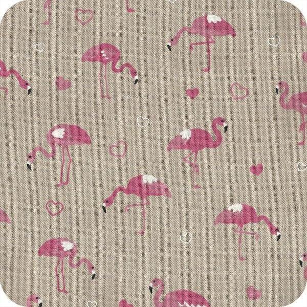 coupon de tissu tropical flamant rose couture ecru. Black Bedroom Furniture Sets. Home Design Ideas