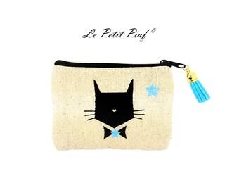 Clutch / wallet Blue Bow Cat ❀ ❀