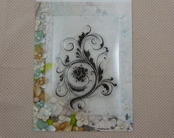 Stamp clear floral embellishment