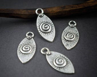 4 pcs - charms shuttles silver-plated, spiral and Sun • 21mm x 9mm