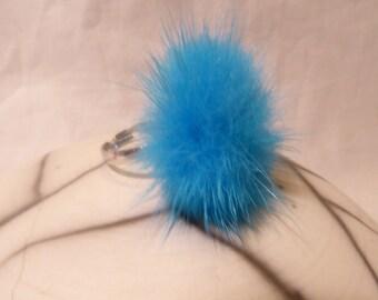 Light blue faux fur ring