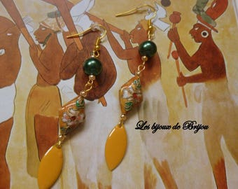 Earrings Asian style mustard and dark green metal enameled, cloisonné bead