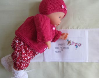 "Doll, pouponou premature baby clothing: jacket and hat, ""fuschia"" hand made knitting size 40-45 cms"