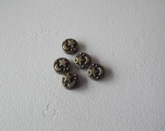 set of 5 charms Pearl Moon and star metal bronze