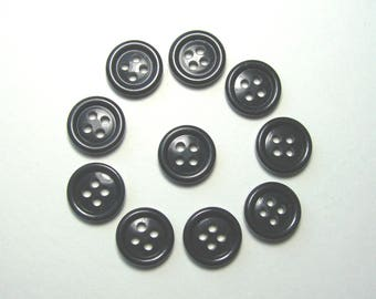 Set of 10 round buttons, 15.5 mm synthetic, black, 4 holes.