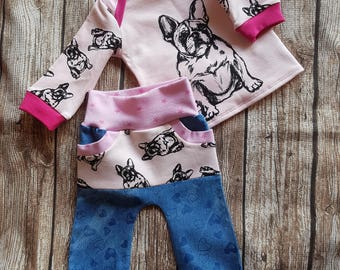 Cozy pants and shirt size 68 French Bulldog
