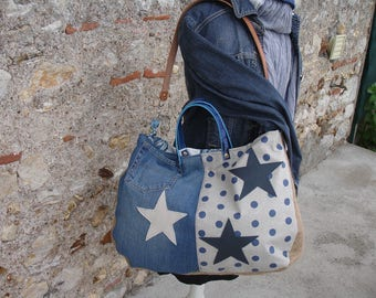 great bag in denim, Burlap, faux blue leather