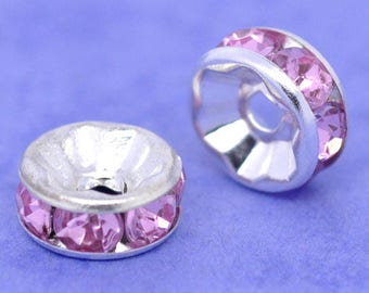 10 beads in silver and Pink Rhinestone spacer rondelles