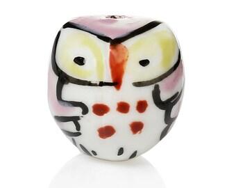 Pearl ceramic owls pink