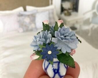 Miniature Flower Arrangement - Blue mixed flowers - Dollhouse - Diorama - 1:12 scale