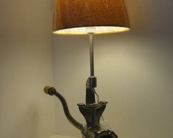 Object away vintage meat grinder lamp