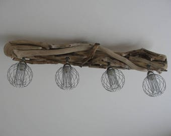 Driftwood with 4 adjustable spots in shiny chrome metal chandelier