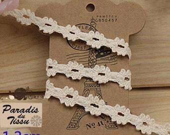 x 5 m Ribbon lace 1/2 cotton beige diamond C2-16 cm