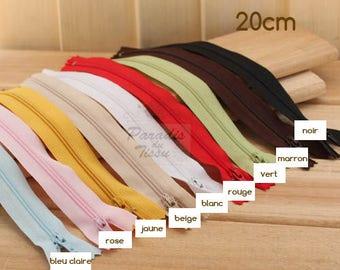 Lot de 9 fermetures éclaire 20cm Multicolores