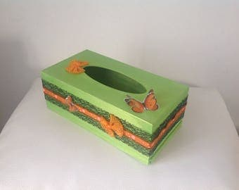 Butterfly... Orange and Green Butterfly tissue box