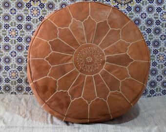 Moroccan  pouf, round ottoman giant leather poufs, handmade light tan footstool, flower leaf design