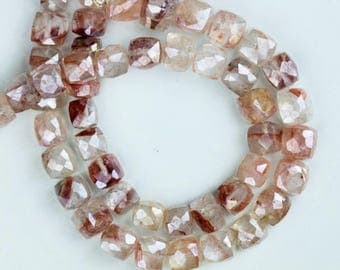 8 inch long strand faceted mystic GROPHY QUARTZ cube beads 6 -- 7 mm approx