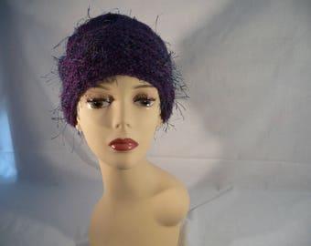 fancy purple mohair wool hand knit hat