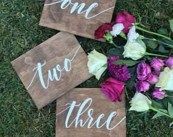 Table numbers   Wooden table numbers   Wedding signs   Reception signs   Rustic Wedding   Signed by Row