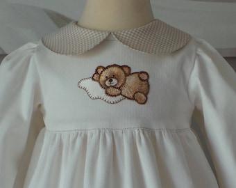 dress 6 months long sleeve velvet milleraie ecru
