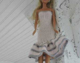 Sparkling Barbie party dress pink grey stripes