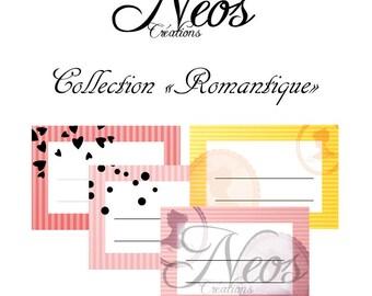 Romantic stripes printable digital labels