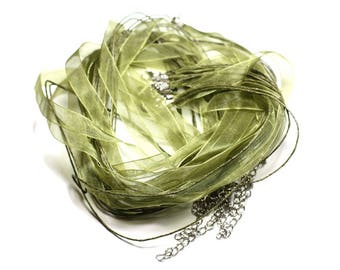 100pc - necklaces neck 47cm cotton and 10mm khaki green Organza fabric