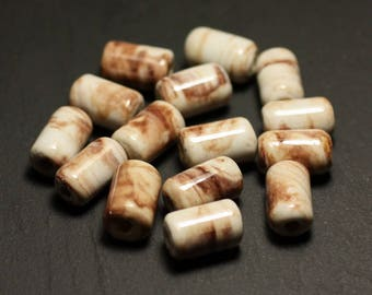 6PC - porcelain ceramic beads 14mm white Ecru Beige Brown - 8741140017818 Tubes