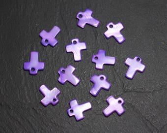 10pc - Pearls Pearl 12mm purple 4558550015440 cross charms