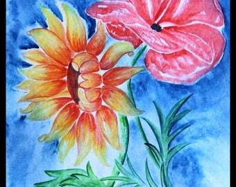 Original illustration painted in watercolor on paper ARCHES 300 g/m²tournesol & poppy