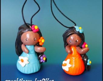 Fimo necklace jewelry Tahitian/Hawaiian flower gift anniversary