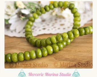 10 5x8mm faceted abacus jade beads