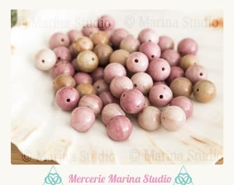 10 pearls 8mm AA - natural beads quality pink rhodonite