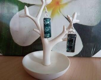 Earrings dangle green dandelion