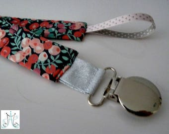 Pacifier clips round - fabric Liberty Wiltshire pink on black background