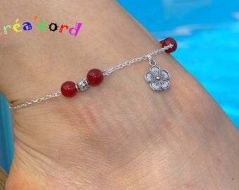 original and adjustable ankle bracelet handmade natural jade stone