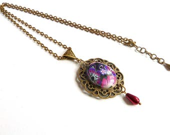 Necklace in retro style polymer clay cabochon
