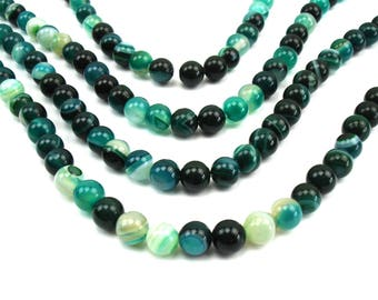 20 round natural 6 mm agate, green beads