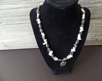 Hematite and Howlite Necklace with Earrings