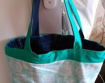 Denim and cotton reversible bag