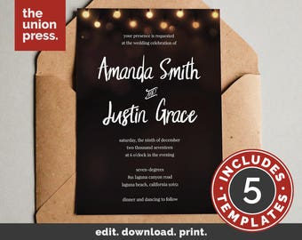 Rustic Wedding Invitation Printable - Save The Date - RSVP - Details - Thank You - Rustic Lights Wedding Invitation Suite