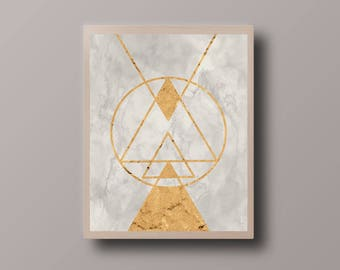 Abstract Gold Geometric Print, Marble Print, Minimalist Print, Abstract Polygon Print, Abstract Foil Print, Minimalist Triangle Print