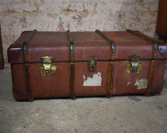 Antique leather bentwood steamer trunk vintage travel trunk