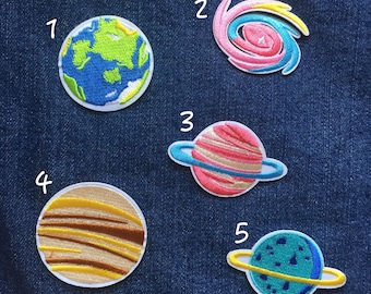 Planet Patch, Space Patch  - Iron on Patch, Sew On Patch, Embroidered Patch