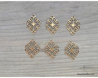 6 Art Deco oxidized brass connectors