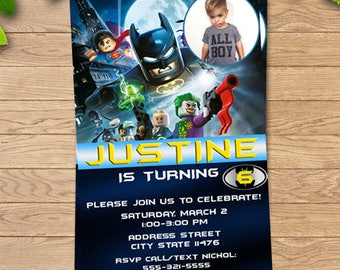 Lego Batman Invites, Lego Batman Invitation, Lego Batman Printables, Superhero Party,  Lego Batman Birthday, Lego Batman Party,