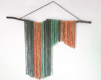 5ft Decorative Wall Hanging Birch Branch and Yarn Color Block