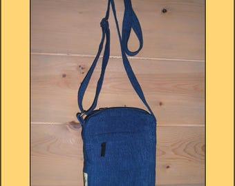 "Nice ""Blue"" organic fabric clutch bag"