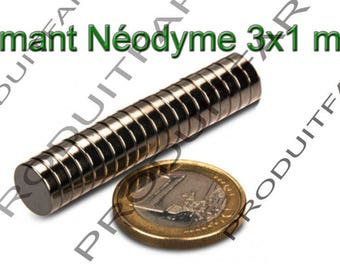 Set of 10 magnet round neodymium NdFeB very powerful Magnet Fimo Scrapbooking 3 x 1 mm